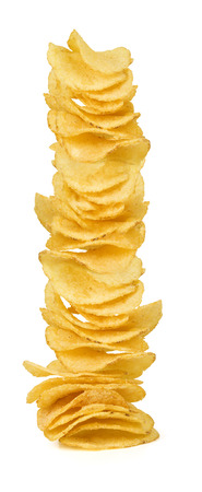 potato chip: A stack of potato chips on white background
