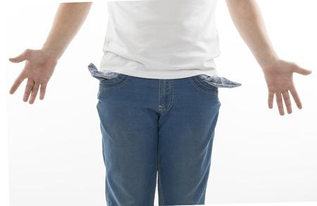 moneyless: Businessman with empty pockets on white