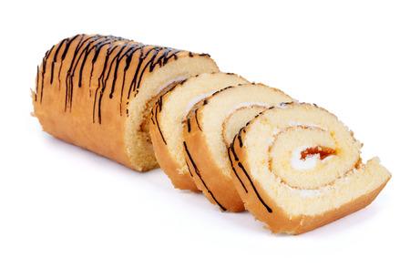Sweet roll cake isolated on white background photo