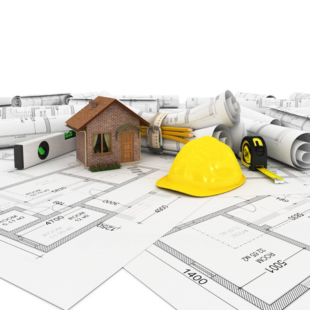 construction plan in roll photo