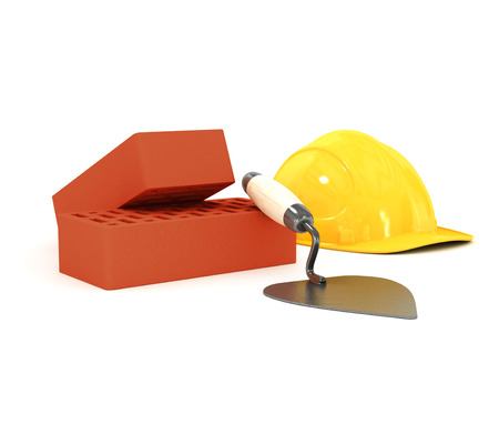 brick and hard hat on a white background photo