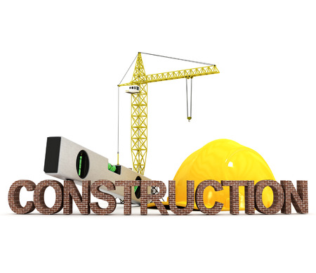 inscription construction with crane and other building fixtures in the background photo