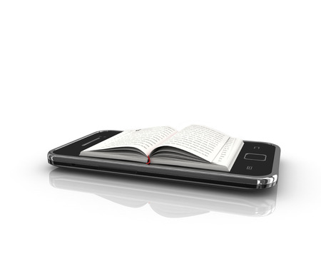 touch screen phone: e-book 3d concept - book instead of display on the touch screen phone Stock Photo