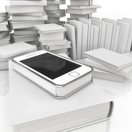 e-book 3d concept - book instead of display on the touch screen phone photo