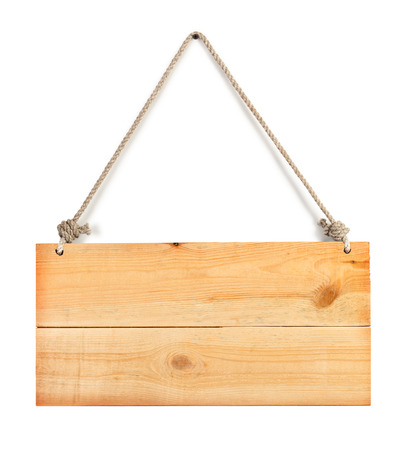 close up of an empty wooden sign hanging on a rope on white Standard-Bild