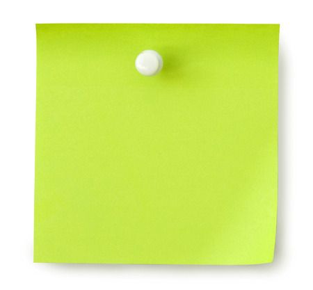 green reminder on a white background Stock Photo