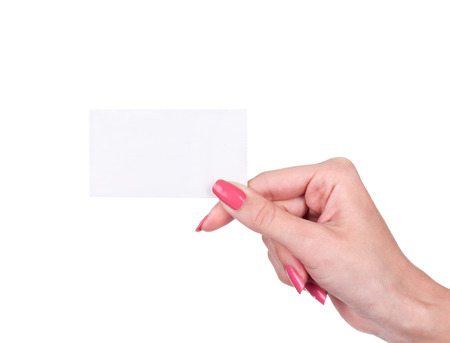 cash slips: Hand holds business card on white background Stock Photo