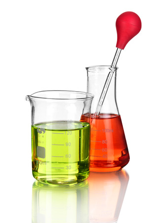 Laboratory glassware with liquids of different colors with Banco de Imagens