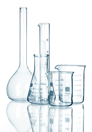 Test-tubes isolated on white. Laboratory glassware Stok Fotoğraf