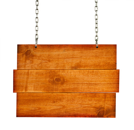 signboard: wooden board hanging on white Stock Photo