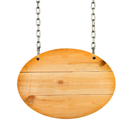 wooden board hanging on white Stock Photo