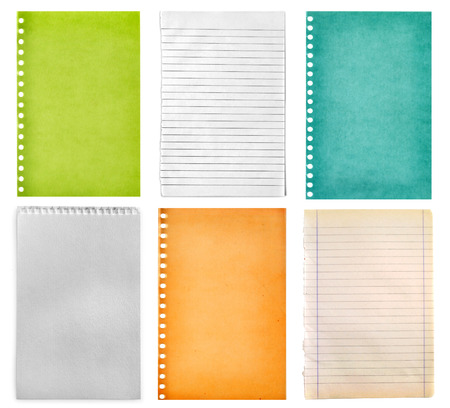 retro vintage pages ripped off from the notebook collection isolated on white photo
