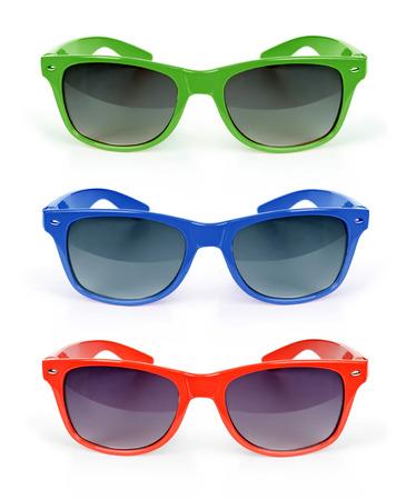 color sunglasses set isolated on white photo