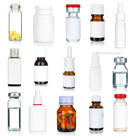 medical bottles collection isolated on white