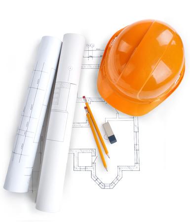 blueprint house: rolls of architecture blueprint, house plane   metric folding ruler