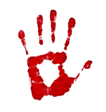 Empreinte de main sanglante isolé sur un fond blanc Banque d'images - 30928019