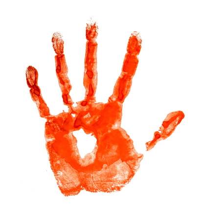 Bloody handprint isolated on a white background photo