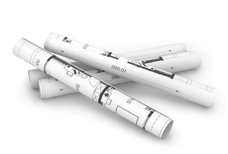 architect tools: Scrolls of engineering drawings  Isolated render on a white background