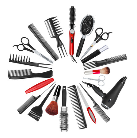 silver hair: a collection of tools for professional hair stylist and makeup artist Stock Photo