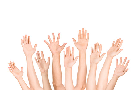 hands lifted up: many open hand up on isolated white background,business concept Stock Photo