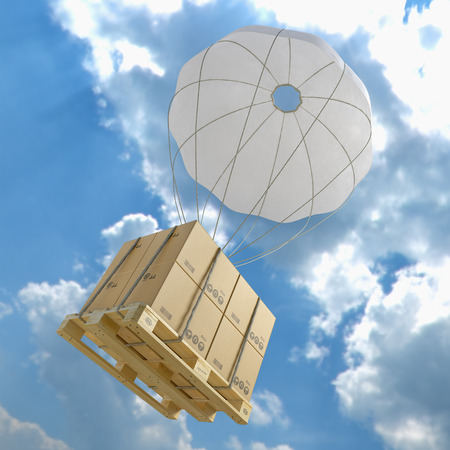 palette and boxes with parachute