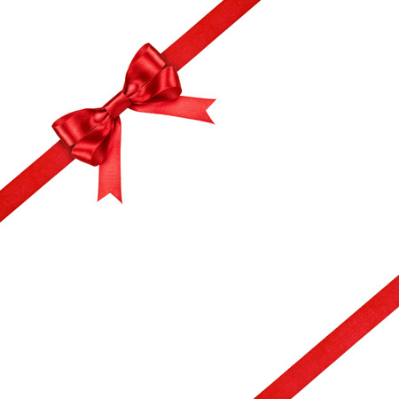 goodie: red ribbon with bow on isolated white background