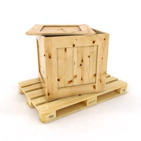 Stack van drie houten pallets Een pallet buurt Geïsoleerd op wit Stockfoto - 30960869