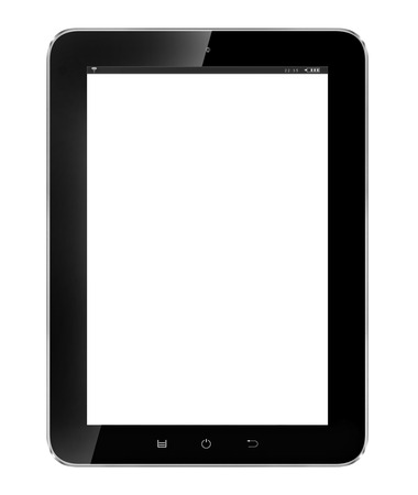 Black tablet pc on white background photo