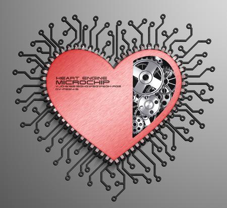 CPU. Gears inside heart processor. 3d photo