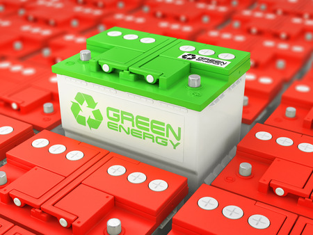Car battery recycling. Green energy. Background from accumulators. 3d