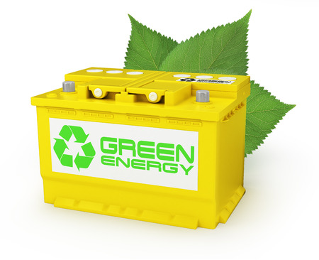 Car battery with green recycle sign. 3d photo