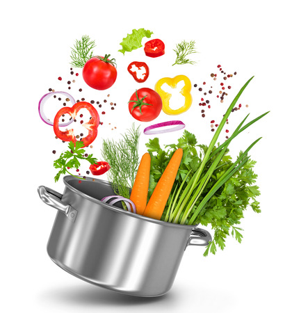 fresh vegetables flying in a pot on an isolated white background Standard-Bild