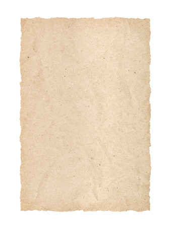 kraft: kraft page with torn edges on an isolated white background