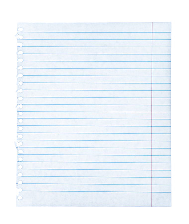 Notebook paper on an isolated white background Stock Photo