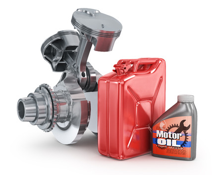 refueling: Motor oil canister and jerrycan. Stock Photo