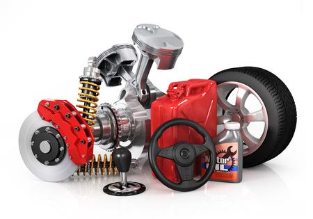 motor car candles: Set of parts of car. 3d render
