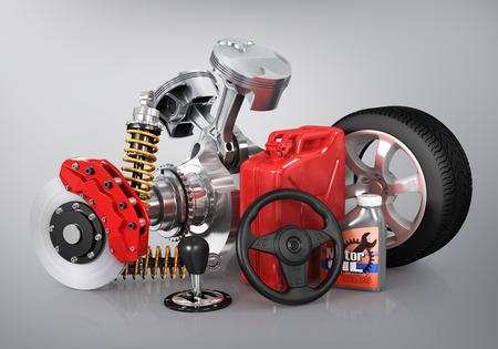 repuestos de carros: Conjunto de piezas de automóvil. 3d