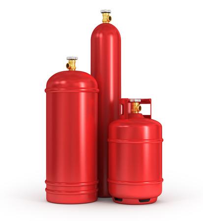 白い背景の圧縮ガスのシリンダー