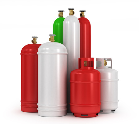 Cylinders with the compressed gases on a white background Stock Photo