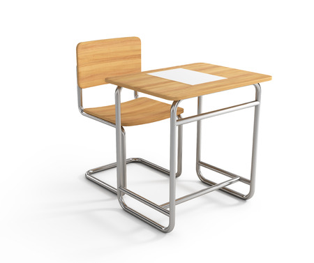 school exam: school desk and chair on white background