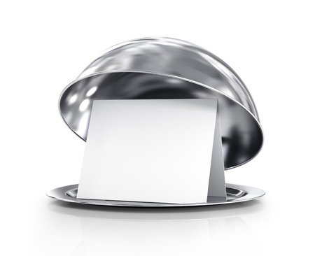 Restaurant cloche met deksel op een witte achtergrond