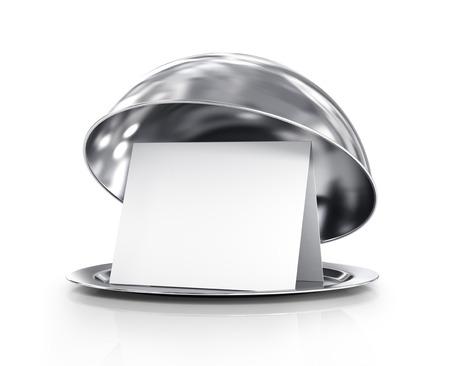 Restaurante cloche con la tapa en un fondo blanco Foto de archivo - 33016150