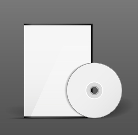 Blank white compact disk with cover mock up template photo