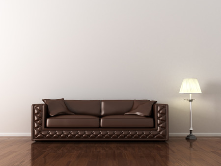 leather: interior, leather sofa in white room Stock Photo