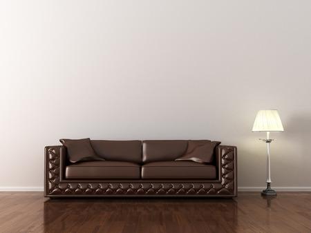 divan sofa: interior, leather sofa in white room Stock Photo