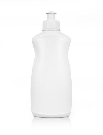 bleach: White plastic bottle for liquid laundry detergent or cleaning agent or bleach or fabric softener. Stock Photo