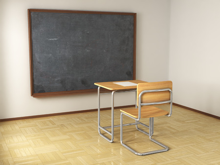 final college: school desk and chair on white background