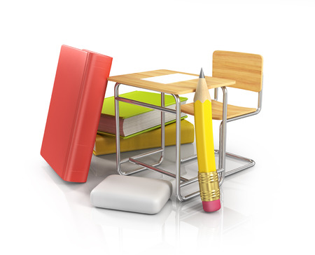 school desk and chair on white background photo