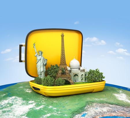 Bagage. Reisconcept, wereldkaart Stockfoto