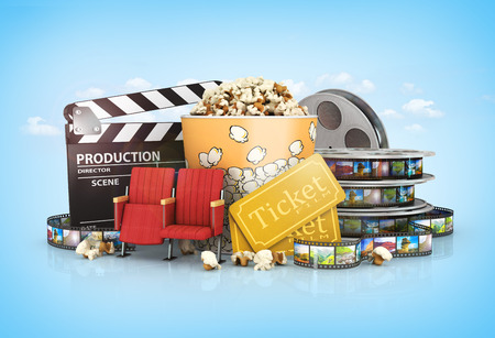 cinematograph: cinematograph in cinema films and popcorn Stock Photo